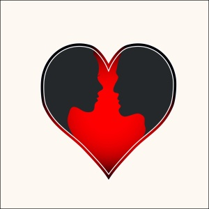 Silhouette of lovers in heart